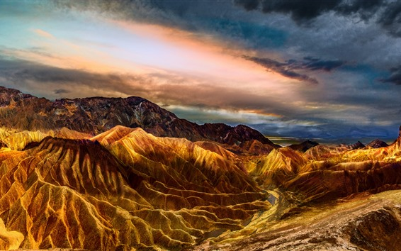 Wallpaper USA, Death Valley, mountains, clouds, nature landscape