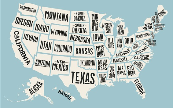 Обои Карта США, название штата, креативная картинка