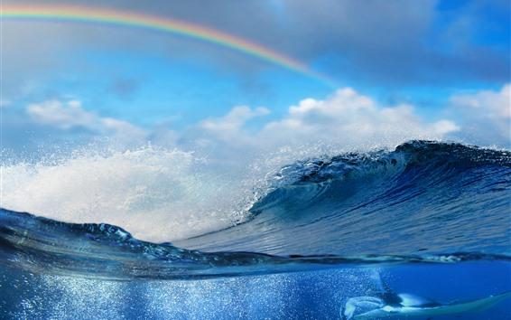 Papéis de Parede Respingo da água, mar, peixes, nuvens, sombra