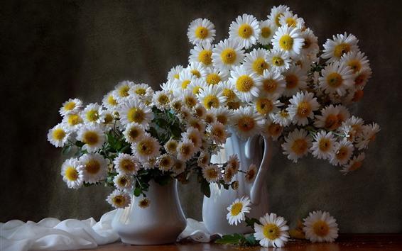 Wallpaper White chamomile, bouquet, vase