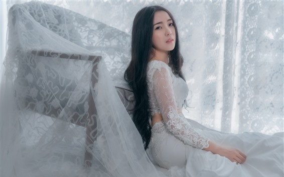 Wallpaper White skirt Chinese girl, lace, pose