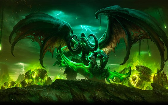 Wallpaper World of Warcraft, horns, wings, game art picture