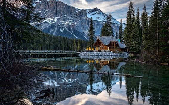 Wallpaper Yoho National Park, lake, trees, mountains, water reflection, Canada