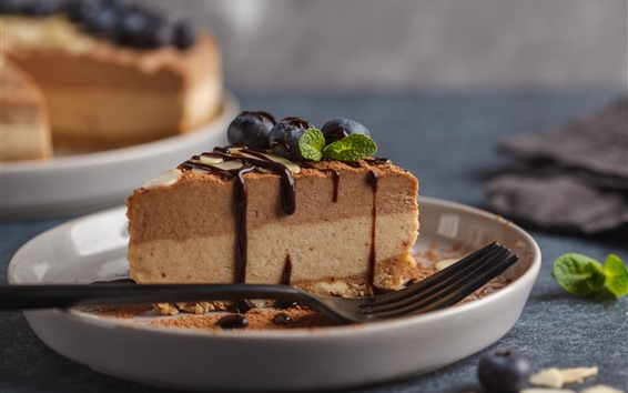 Fond d'écran Un morceau de gâteau au chocolat, fourchette