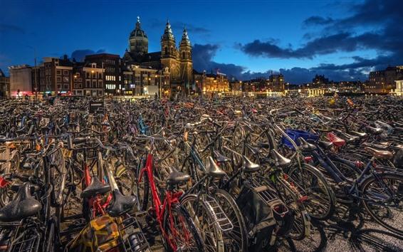 Fond d'écran Amsterdam, Pays-Bas, nombreux vélos, ville, nuit