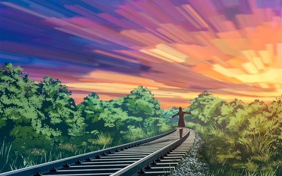 Wallpaper Anime, girl walking on the railroad, trees, sunset