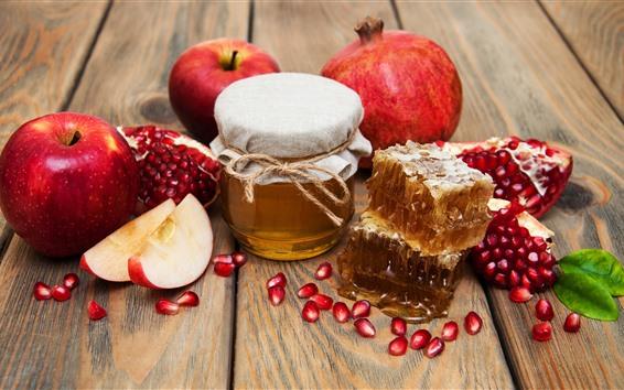 배경 화면 사과, 꿀, 석류