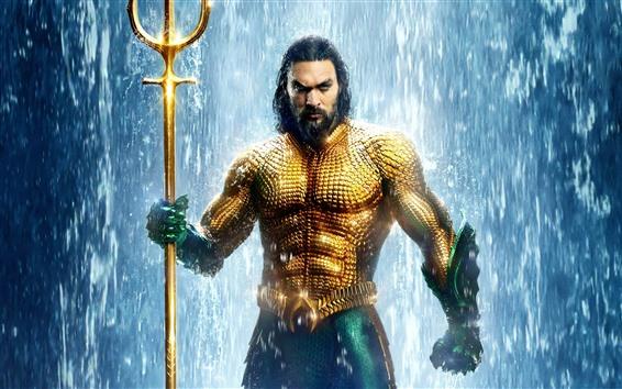Fondos de pantalla Aquaman, Arthur, escamas doradas, cascada