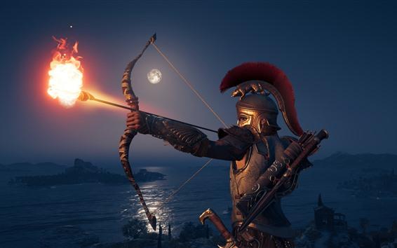 Обои Assassin's Creed: Одиссея, лучник, броня, огненная стрела
