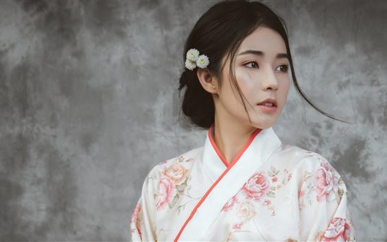 Fond d'écran Belle fille japonaise, jeune femme, kimono