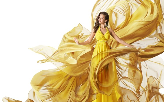 Обои Красивая девушка в желтой юбке, художественная фотография