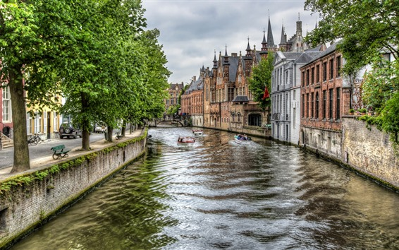Wallpaper Belgium, Bruges, river, boats, city, houses