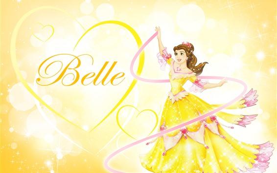 壁紙 ベル、プリンセス、ラブハート、黄色のスカート、ディズニーアニメの女の子
