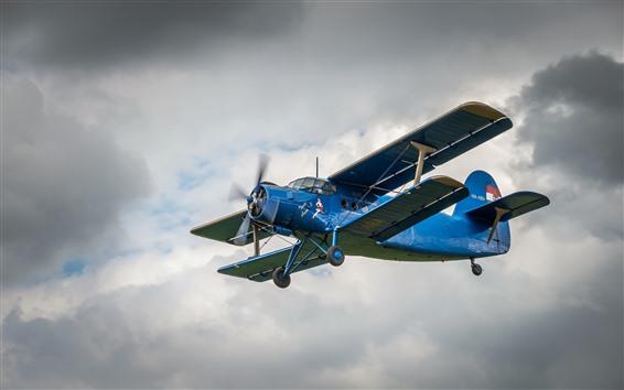 Fondos de pantalla Biplano azul, cielo, vuelo.