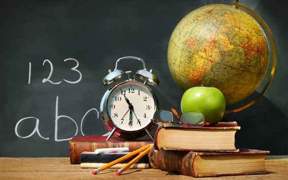 Wallpaper Books, alarm clock, glasses, globe, apple, pencil, classroom