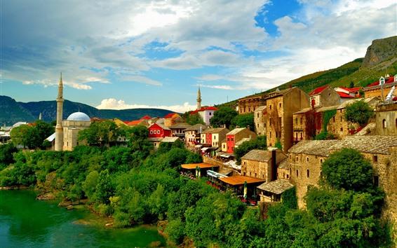 Wallpaper Bosnia and Herzegovina, Mostar, town, river, trees