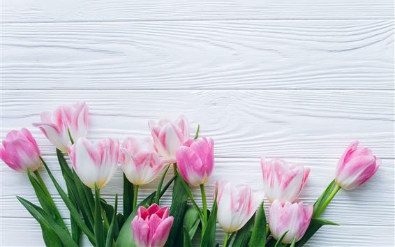 Wallpaper Bouquet, pink tulips, wood board