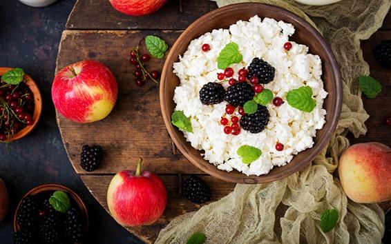 Wallpaper Breakfast, cheese, red apples, blackberries
