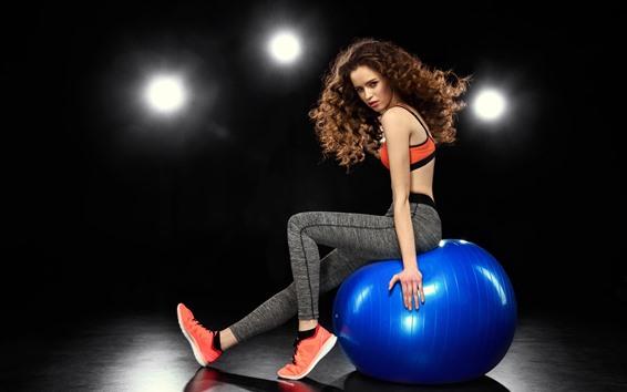 Wallpaper Brown hair girl, hairstyle, pose, sneakers, lights