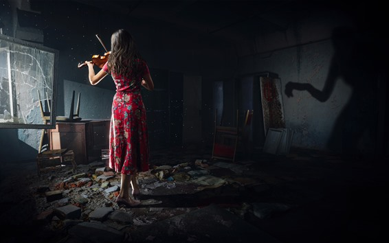 Wallpaper Chernobylite 2019 Pc Game Girl Back View Violin