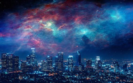Fondos de pantalla Ciudad, noche, rascacielos, luces, cielo, galaxia, imagen creativa