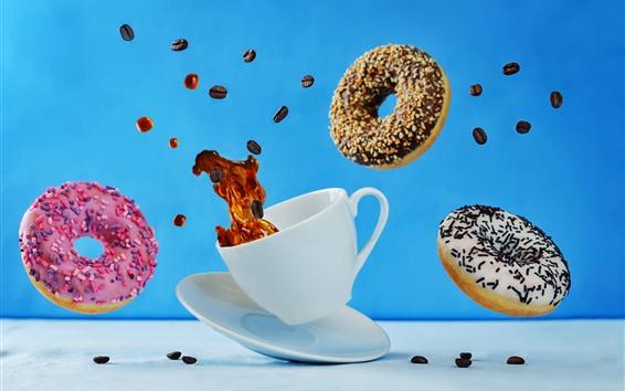 배경 화면 커피와 도넛, 파리, 컵, 순간