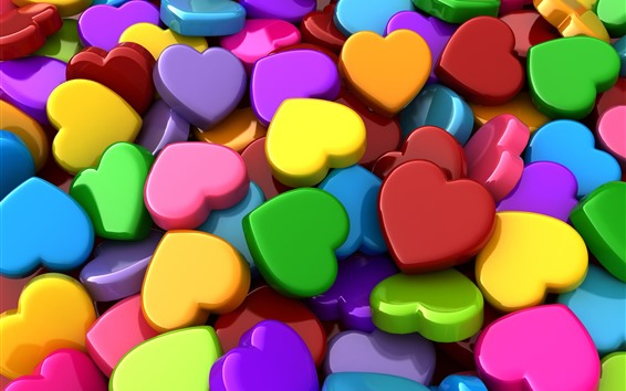 Wallpaper Colorful love hearts, 3D picture