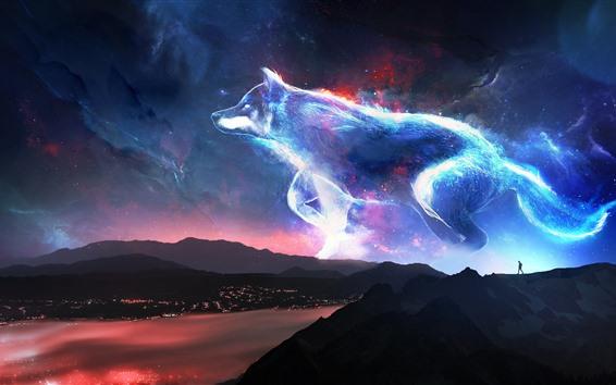 Обои Креативный дизайн, волк, звезды, блеск, горы, побережье, ночь