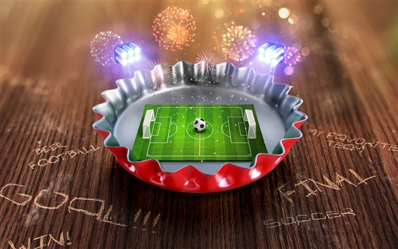 Wallpaper Creative picture, mini football ground, cover, fireworks