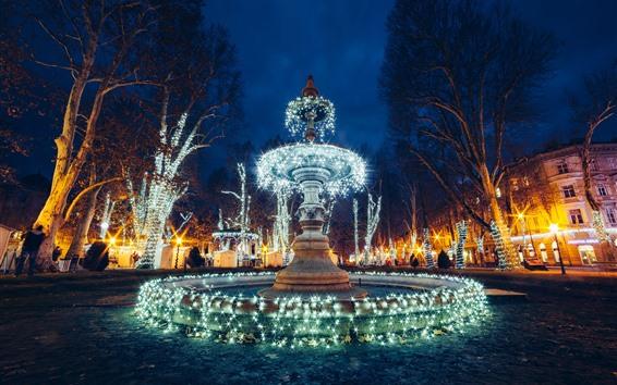 Fond d'écran Croatie, Zagreb, fontaine, belles lumières de Noël, éclat, nuit