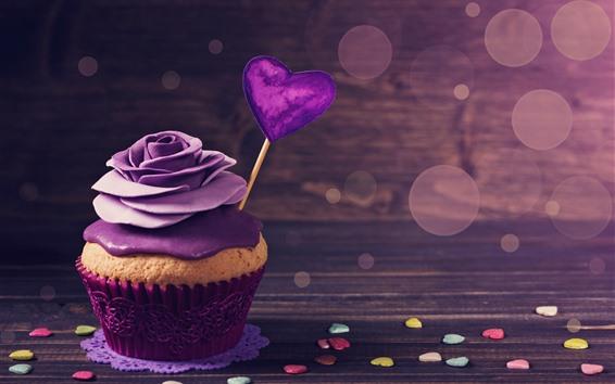 Fond d'écran Cupcake, Purple rose, crème, coeurs d'amour, romantique