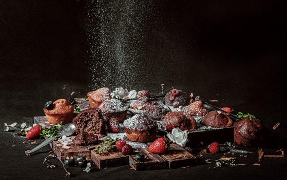 Wallpaper Cupcakes, sugar powder, strawberry