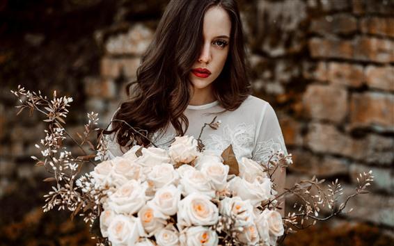 Wallpaper Curly hair girl, pink roses