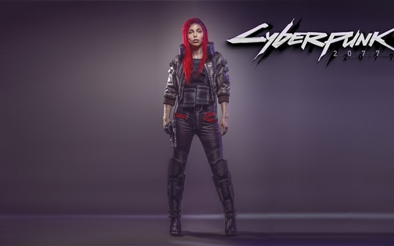 Wallpaper Cyberpunk 2077, red hair girl