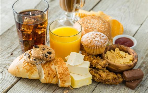 배경 화면 맛있는 음식, 빵, 컵케잌, 오렌지 주스, 치즈