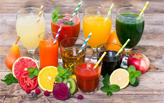 Wallpaper Different kinds of juice, colorful, cups, fruit