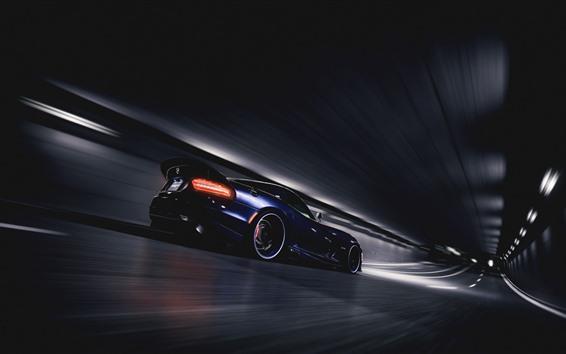 Обои Dodge SRT Viper GTS синий суперкар скорость, тоннель