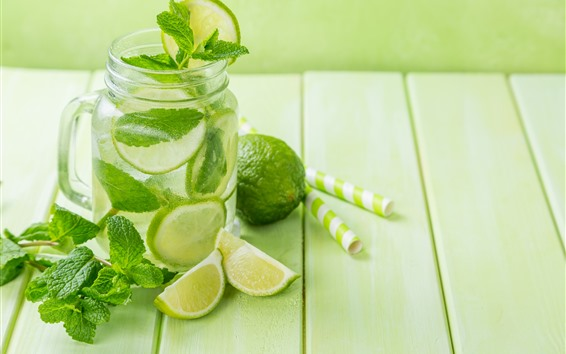 Wallpaper Drinks, green lemon, mint leaves