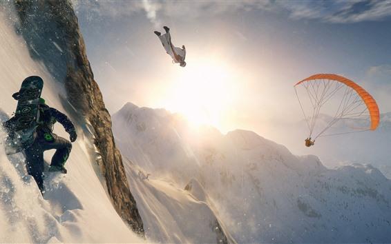 Обои Экстрим, скалы, снег, горы, прыжки с парашютом, лыжи