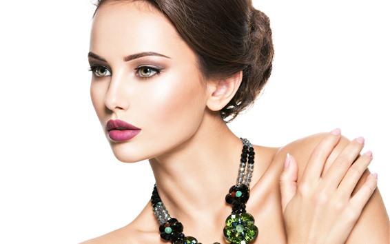 Fond d'écran Fashion girl, beau modèle, bijoux, fond blanc