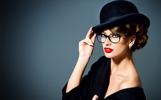 Wallpaper Fashion girl, hat, makeup, red lip, glasses, hands