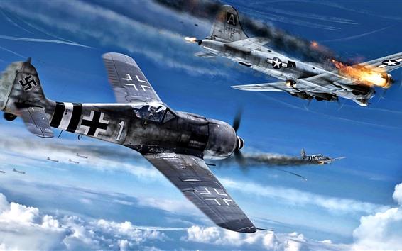 Wallpaper Fighter, war, sky, shoot, clouds, art picture
