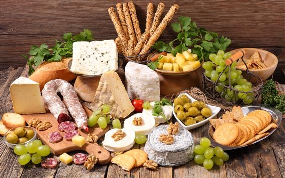 배경 화면 음식, 치즈, 쿠키, 포도, 빵, 고기