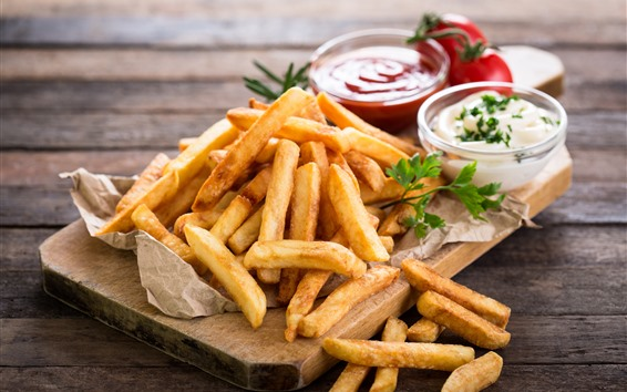 Wallpaper Food, french fries, tomatoes