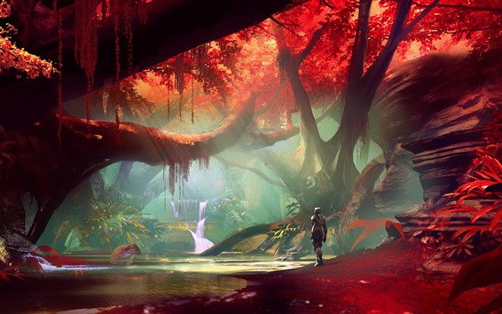 Wallpaper Forest, red leaves, waterfall, robot, art picture