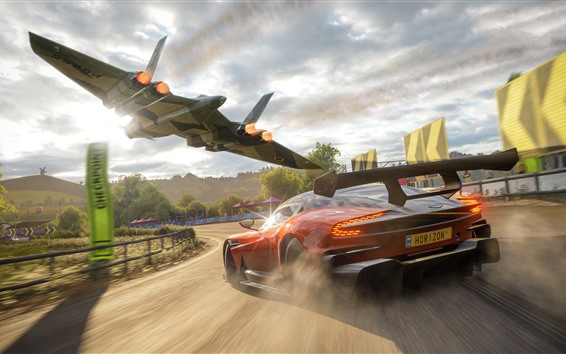 Wallpaper Forza Horizon 4, Aston Martin supercar speed