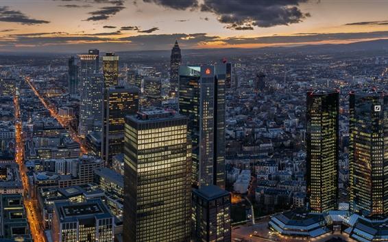 Wallpaper Frankfurt, city night, skyscrapers, lights, Germany