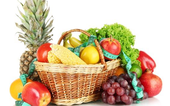 배경 화면 과일 및 채소, 옥수수, 사과, 레몬, 파인애플, 바구니