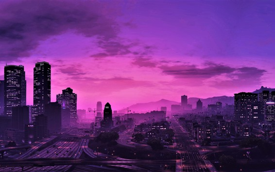 Wallpaper GTA 5, city at night, purple style, skyscrapers