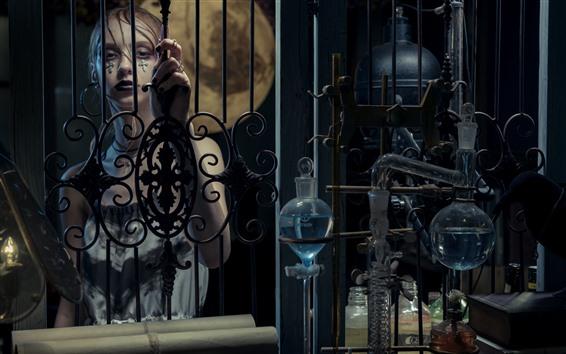 Обои Девушка, забор, трубки, луна, ночь, эксперимент